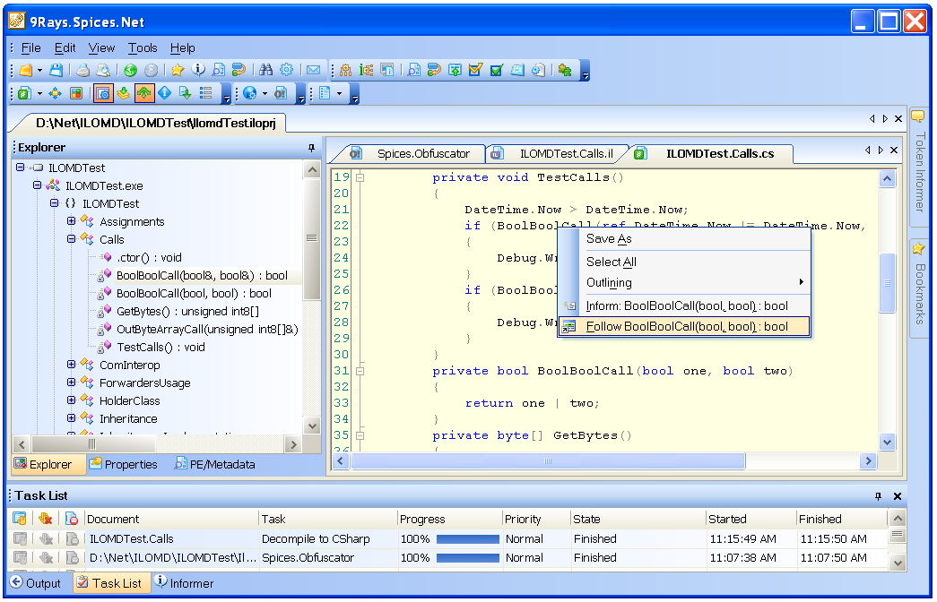 decompile assemblies and create C#, IL, J#, C++ or Delphi source code