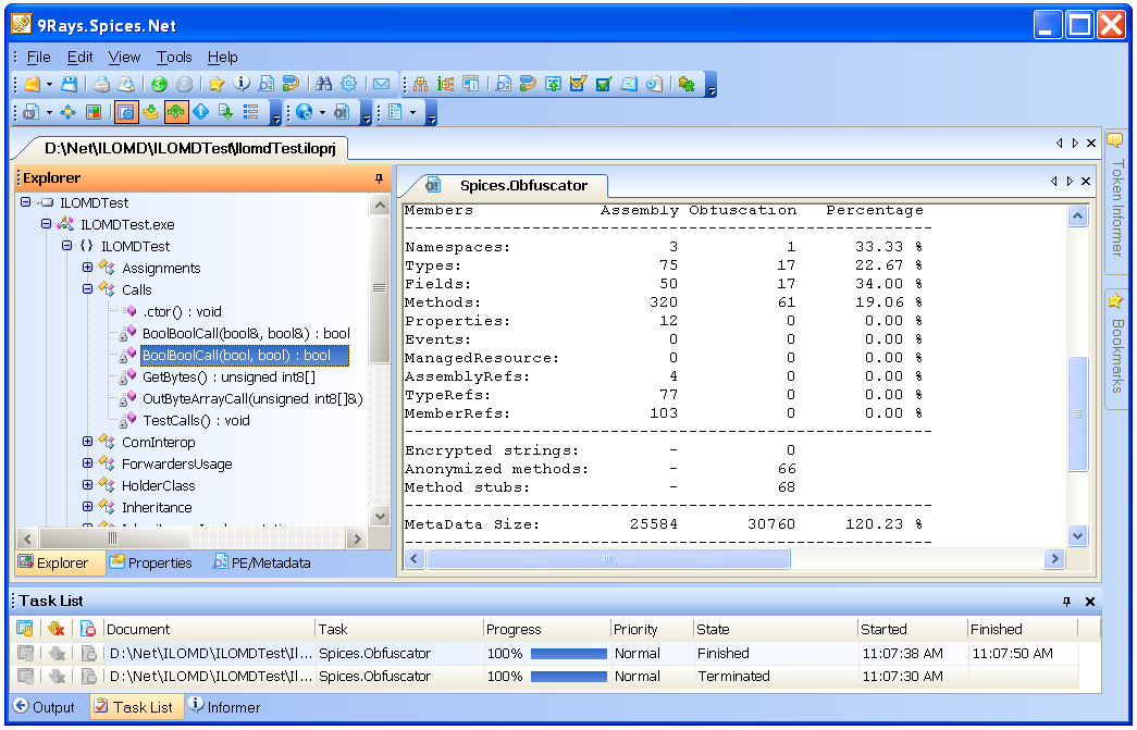 Click to view Spices.Net Obfuscator 5.8.0.50 screenshot
